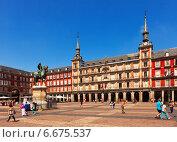Купить «View of Plaza Mayor. Madrid, Spain.», фото № 6675537, снято 29 августа 2013 г. (c) Яков Филимонов / Фотобанк Лори