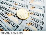 Купить «Российский рубль на  долларах», фото № 6678797, снято 13 ноября 2014 г. (c) Валерия Потапова / Фотобанк Лори