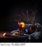 Натюрморт с глинтвейном и ветками шиповника. Стоковое фото, фотограф Анна Губина / Фотобанк Лори