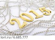 Купить «Золотистые цифры 2015 и бусы», фото № 6685777, снято 28 июня 2012 г. (c) Владимир Ковальчук / Фотобанк Лори
