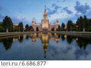 Купить «Москва. Главное здание МГУ вечером», фото № 6686877, снято 22 июня 2012 г. (c) Соболев Игорь / Фотобанк Лори