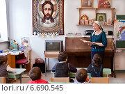 Купить «Урок в православной воскресной школе», фото № 6690545, снято 24 марта 2013 г. (c) Victoria Demidova / Фотобанк Лори