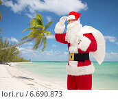 man in costume of santa claus with bag. Стоковое фото, фотограф Syda Productions / Фотобанк Лори