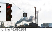 Купить «industrial chimney and red traffic lights», фото № 6690961, снято 17 января 2020 г. (c) Erwin Wodicka / Фотобанк Лори