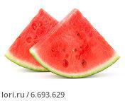 Sliced ripe watermelon isolated on white background cutout. Стоковое фото, фотограф Natalja Stotika / Фотобанк Лори