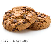 Купить «Chocolate cookies isolated on white background cutout», фото № 6693685, снято 22 октября 2014 г. (c) Natalja Stotika / Фотобанк Лори