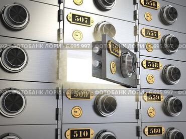 Купить «Safe deposit boxes in a bank vault. Banking concept.», фото № 6695997, снято 31 марта 2020 г. (c) Maksym Yemelyanov / Фотобанк Лори