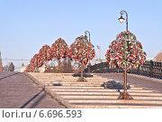 Купить «Лужков мост через Обводный канал в городе Москва», фото № 6696593, снято 19 ноября 2014 г. (c) Parmenov Pavel / Фотобанк Лори
