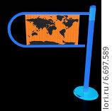 Купить «Турникет с картой мира на черном фоне», иллюстрация № 6697589 (c) Guru3d / Фотобанк Лори