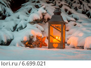 Купить «lantern in the snow at christmas», фото № 6699021, снято 19 января 2020 г. (c) Erwin Wodicka / Фотобанк Лори