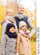 Купить «happy family in autumn park», фото № 6704965, снято 12 октября 2014 г. (c) Syda Productions / Фотобанк Лори