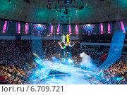Воздушные акробаты в Большом Московском цирке (2014 год). Редакционное фото, фотограф Володина Ольга / Фотобанк Лори