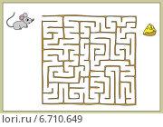 Помоги мыши найти путь к сыру. Игра. Стоковая иллюстрация, иллюстратор Типляшина Евгения / Фотобанк Лори