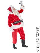 Купить «Happy santa claus singing with microphone», фото № 6720981, снято 29 августа 2014 г. (c) Wavebreak Media / Фотобанк Лори