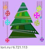 Новогодняя елка из кинопленки и гирлянды с игрушками в виде катушек с пленкой. Стоковая иллюстрация, иллюстратор Анастасия Козлова / Фотобанк Лори