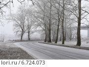 Морозное туманное утро на городской дороге. Стоковое фото, фотограф Ляля Рюмина / Фотобанк Лори