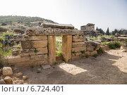 Купить «Иераполис, Турция. Фасад склепа в античном некрополе, II в. до н.э.  - XV в. н. э», фото № 6724401, снято 27 июня 2014 г. (c) Rokhin Valery / Фотобанк Лори