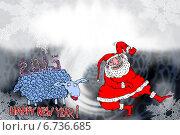 Овца 2015 и Дед Мороз. Стоковая иллюстрация, иллюстратор Олег Павлов / Фотобанк Лори
