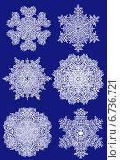 6 снежинок на синем фоне. Стоковая иллюстрация, иллюстратор Олег Павлов / Фотобанк Лори