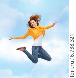 Купить «smiling young woman jumping high in air», фото № 6738321, снято 22 июня 2014 г. (c) Syda Productions / Фотобанк Лори