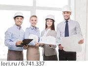 Купить «happy business team in office», фото № 6741337, снято 5 апреля 2014 г. (c) Syda Productions / Фотобанк Лори