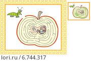 Червь и яблоко с лабиринтом. Стоковая иллюстрация, иллюстратор Типляшина Евгения / Фотобанк Лори