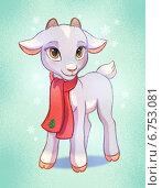 Коза в шарфике - символ нового года. Стоковая иллюстрация, иллюстратор Татьяна Харитонова / Фотобанк Лори