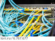 Купить «Оптический коммутатор и разноцветные кабели», фото № 6767677, снято 22 июля 2018 г. (c) Mikhail Starodubov / Фотобанк Лори