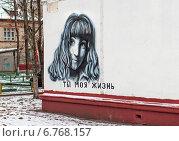 Купить «Граффити на стене жилого дома в Москве», эксклюзивное фото № 6768157, снято 3 декабря 2014 г. (c) Константин Косов / Фотобанк Лори