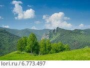 Такмак. Летний вид с Торгашинского хребта. Стоковое фото, фотограф Михаил Зверев / Фотобанк Лори