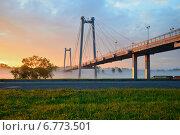 Вантовый мост на остров Татышев на рассвете. Стоковое фото, фотограф Михаил Зверев / Фотобанк Лори