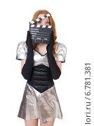 Купить «Woman in tech concept isolated on white», фото № 6781381, снято 4 января 2014 г. (c) Elnur / Фотобанк Лори