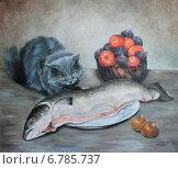 Купить «Кошка с семгой», иллюстрация № 6785737 (c) Марина Ефремова / Фотобанк Лори