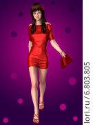 Стройная брюнетка в красном наряде идет по фиолетовому фону. Стоковая иллюстрация, иллюстратор VahanN / Фотобанк Лори