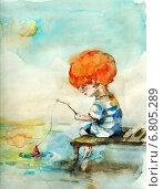Купить «Хорошо в деревне летом. Акварельный рисунок мальчика, рыбачащего у водоема», иллюстрация № 6805289 (c) Марина / Фотобанк Лори