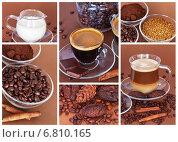 Купить «Кофе эспрессо и латте. Коллаж», фото № 6810165, снято 7 декабря 2014 г. (c) Виктория Катьянова / Фотобанк Лори