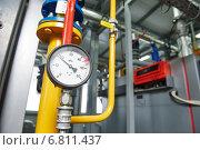 Купить «gas heating system boiler room equipments», фото № 6811437, снято 8 декабря 2014 г. (c) Дмитрий Калиновский / Фотобанк Лори