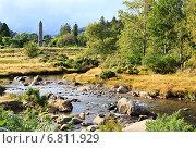 Купить «Летний пейзаж со средневековой башней, национальный парк Уиклоу, Ирландия», фото № 6811929, снято 21 августа 2014 г. (c) Юлия Машкова / Фотобанк Лори