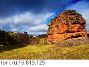 Red rocks at Alto Tajo in autumn (2014 год). Стоковое фото, фотограф Яков Филимонов / Фотобанк Лори