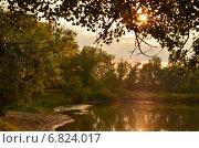 Река Тобол на закате солнца. Стоковое фото, фотограф Юлия Лекомцева / Фотобанк Лори