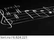 Купить «Музыкальные ноты на доске», фото № 6824221, снято 11 ноября 2014 г. (c) Сергей Лабутин / Фотобанк Лори