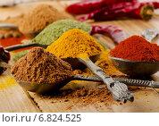 Купить «Selection of dried spices .», фото № 6824525, снято 30 ноября 2014 г. (c) Tatjana Baibakova / Фотобанк Лори
