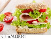Купить «Sandwich with fresh tomatoes on a wooden table», фото № 6829801, снято 5 декабря 2014 г. (c) Tatjana Baibakova / Фотобанк Лори