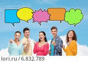 Купить «group of smiling teenagers showing triumph gesture», фото № 6832789, снято 22 июня 2014 г. (c) Syda Productions / Фотобанк Лори