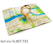 Купить «Navigation concept. GPS map of the city and golden pin.», фото № 6857733, снято 17 января 2020 г. (c) Maksym Yemelyanov / Фотобанк Лори