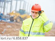 Купить «Construction building site foreman», фото № 6858837, снято 14 декабря 2014 г. (c) Дмитрий Калиновский / Фотобанк Лори