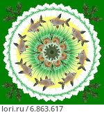 Купить «Декоративная мандала с рыбками», иллюстрация № 6863617 (c) Astronira / Фотобанк Лори