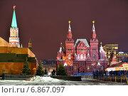 Купить «Перед рассветом на Красной площади. Москва», фото № 6867097, снято 5 января 2015 г. (c) Валерия Попова / Фотобанк Лори