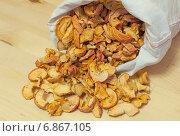 Купить «Матерчатый мешок с сушёными яблоками, рассыпанными по деревянной столешнице», эксклюзивное фото № 6867105, снято 6 января 2015 г. (c) Константин Косов / Фотобанк Лори