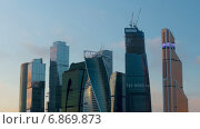 "Купить «Бизнес-центр ""Москва-Сити"", Москва, таймлапс», видеоролик № 6869873, снято 31 декабря 2014 г. (c) Серёга / Фотобанк Лори"